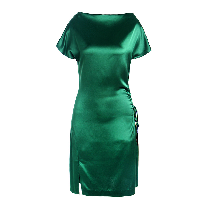 2019 Summer New Fashion Dresses Women Elegant Temperament Acetate Satin Glossy Slim Dress