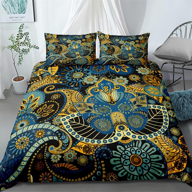 Fanaijia Blue 3D Bohemian Bedding Set Luxury Quilt Cover Set Mandala Flowers Duvet Cover Set Twin/Queen /King Size Bed Sets
