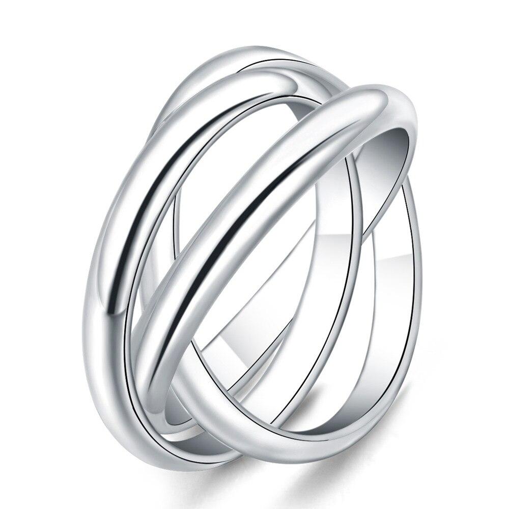 Размер 5-10, красивое серебряное кольцо в подарок на день Святого Валентина, ювелирные изделия, 3 круга, популярное милое благородное красивое...