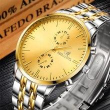 New Fashion Men Watches Luxury Gold Silver Stainless Steel Quartz Wristwatch Man Watch ORLANDO horloge man