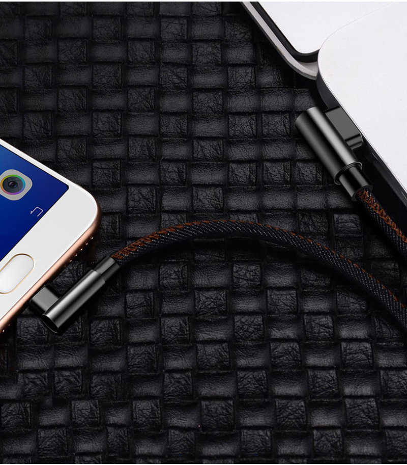 Cafele 2 M USB TYPE C 90 Derajat Cepat Pengisian Usb C Kabel TYPE C Data Kabel Charger Usb C UNTUK Samsung S8 S9 Note9 8 Xiaomi Mi8 Mi6