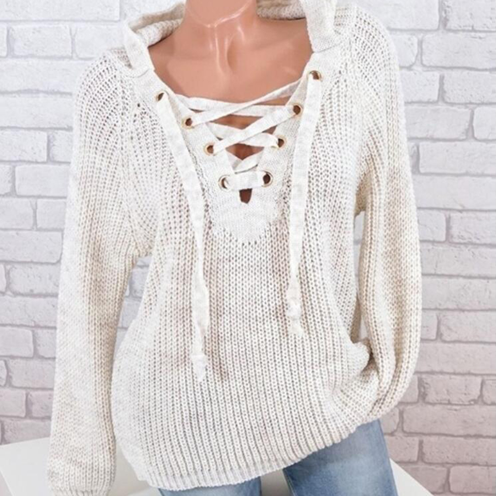 VERTVIE New Solid Vintage Women Sweaters Sexy Bandage V Neck Pullovers Casual Knitted Pull Femme Winter Jumper Loose Long Blusa