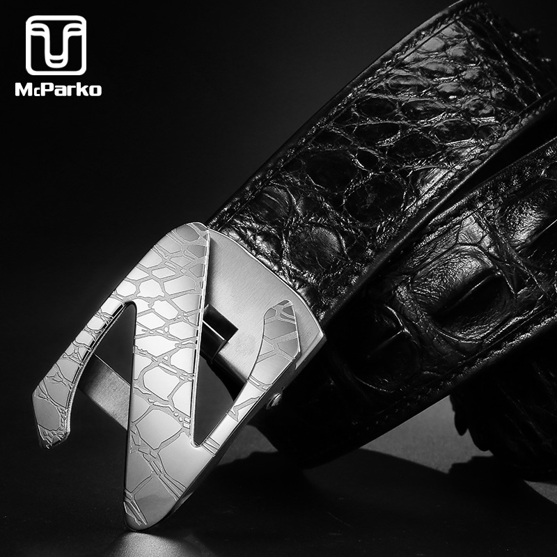 McParko Luxury Mens Belt Crocodile Genuine Leather Waist For Men Stainless Steel Buckle Back Skin Belts for suits