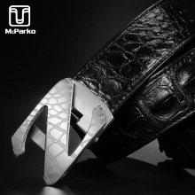 McParko Luxury Mens Belt Crocodile Genuine Leather Waist Belt For Men Stainless Steel Buckle Crocodile Back Skin Belts for suits fashionable crocodile and letter z shape inlay design auto buckle belt for men