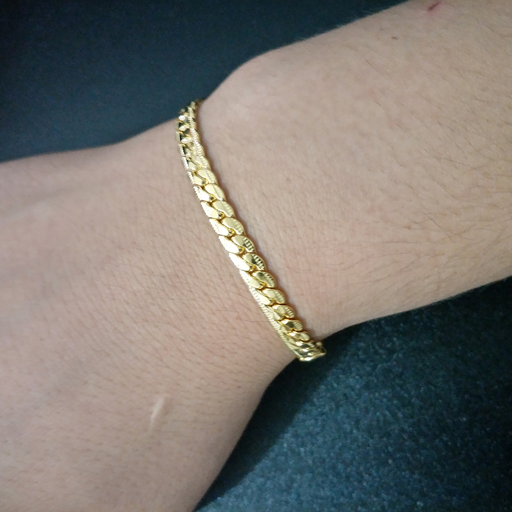 Gold Silver Color Chain Bracelet Men Women Fashion Jewelry Gift Hand Link Bracelet Curb wrist bracelet For Mens Birthday Present