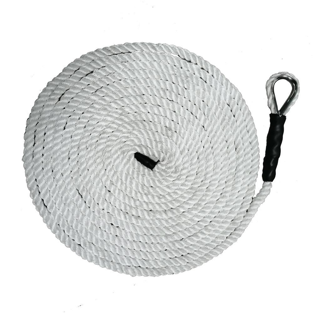 1.2CM*5M 10M 15M 3 Strand Braid Twisted Nylon Anchor Rope Eye Splice Thimble Docking Rope Tie Up A Boat Mooring Line
