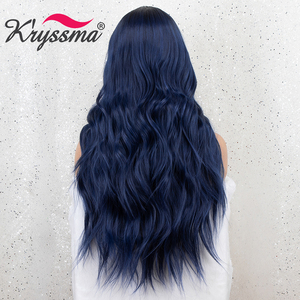 Image 2 - Kryssma Ombre Blue Wig Mixed Black Long Wavy Synthetic Wigs For Women Cosplay Wigs High Temperature Fiber Hair Wig