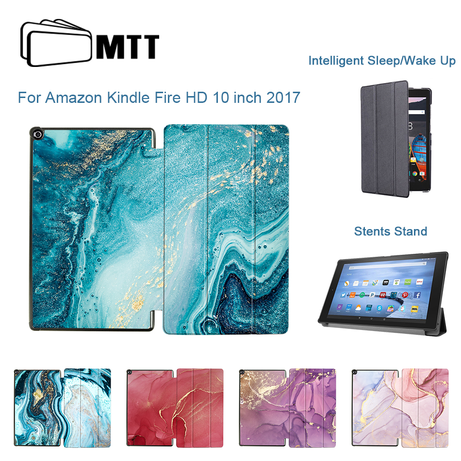 MTT PU Leather <font><b>Case</b></font> For Amazon <font><b>Fire</b></font> <font><b>HD</b></font> <font><b>10</b></font> inch 2017 Slim Magnetic Flip Stand Smart Cover Marble Tablet <font><b>Case</b></font> Auto Sleep /Wake Up image