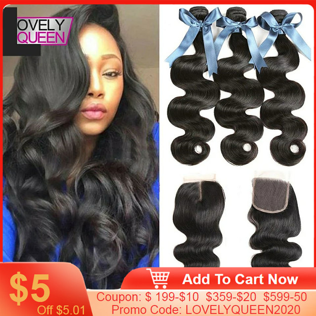 Body Wave Bundles With Closure Brazilian Hair Weave 3 Bundles With Closure Human Hair Bundles With Closure 30 Inch Bundles