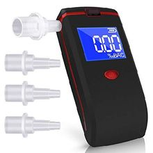 Digital Breath Alcohol Tester Portable Breathalyzer with LCD Display 4 Mouthpieces