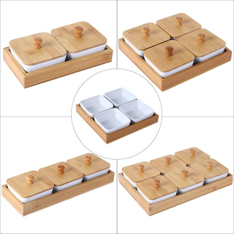 Bandeja de almacenamiento de bambú de cerámica japonesa con tapa plato de postre de fruta seca removible bandeja de postre de aperitivos secos de caramelo