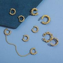 Círculo redondo correntes de orelha fivela para as mulheres moda ouro cor metal contas orelha manguito clip em brincos torção pequena orelha osso aros