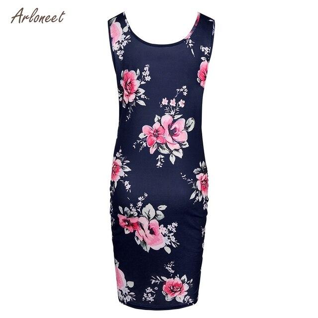 ARLONEET Women's Maternity Floral Print Sleeveless Dresses 1