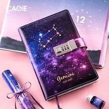 B6 Diary Planner Organizer Notebook and Journals Kawaii Twelve Constellations Note Book Password Lock DIY Agenda Birthday Gifts