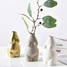 Ceramics Vases Body Art Bust Statue Flower Insert Ornaments Frosted Porcelain Crafts Creativity Vase Desk Decor Home Decoration