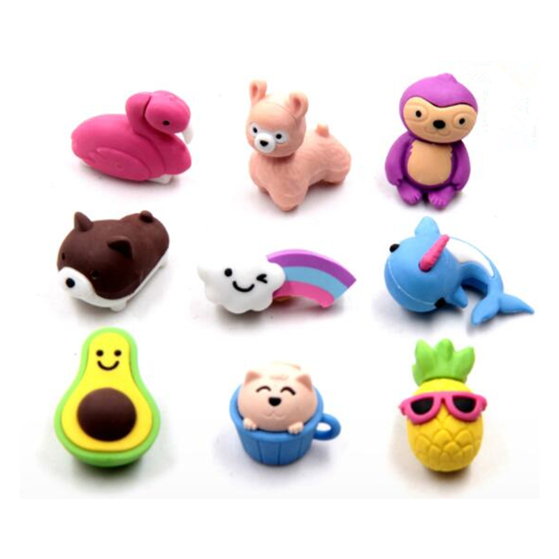 9Pcs/Set Creative Cute Cartoon Animals Erasers Novelty Pencil Eraser For Kids Student Learning Office Stationery