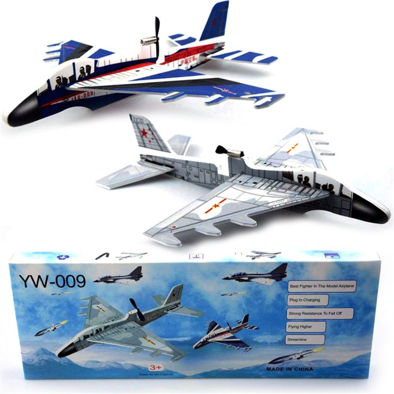 DIY Biplane Glider Foam Powered Flying Plane Rechargeable Electric Aircraft Model Science Educational Toys For Children