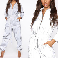 Casual Loose Reflective Jumpsuit Fashion Women Long Sleeve Zipper One Piece Jumpsuit With Belt Female Glow Overalls Plus Size