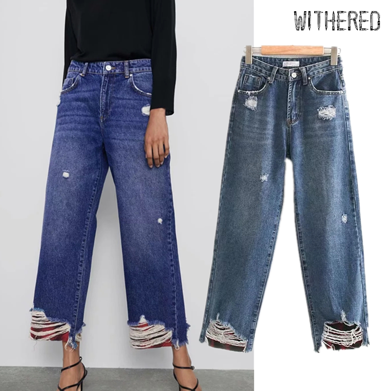 Withered High Street Vintage Mom Jeans Woman Loose Straight High Waist Jeans Ripped Jeans For Women Boyfriend Jeans For Women