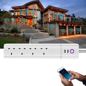 Image 5 - Умная Wi Fi полоса питания штепсельная вилка Великобритании с USB защитой от перенапряжения 4 розетки переменного тока дистанционное управление работа Alexa Google домашний помощник