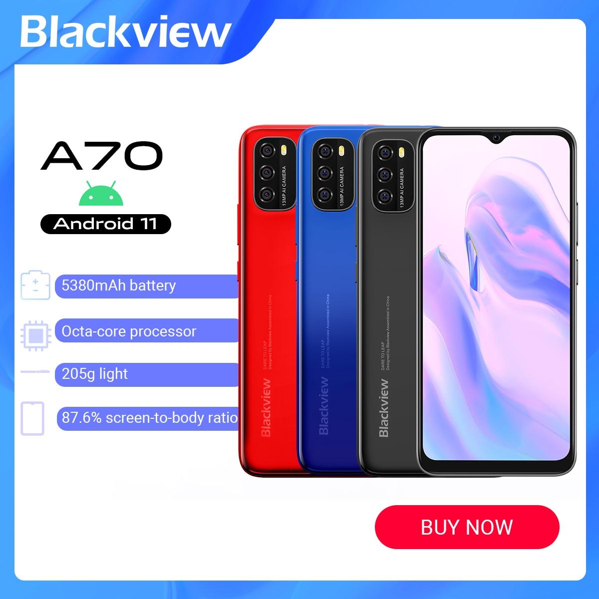 Blackview A70 Android 11 смартфон Оперативная память 3 Гб оперативной памяти, Встроенная память 32GB LTE 4G 6,517 дюймовый смартфон Octa Core отпечатков пальцев р...