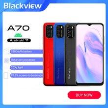 Blackview a70 android 11 smartphone ram 3gb rom 32gb lte 4g 6.517 polegada smartphone octa núcleo impressão digital desbloqueado celular gps