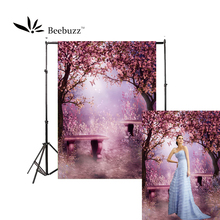 Beebuzz photo backdrop a dreamy romantic  backkground under pink cherry tree personal and studio supplies photophone