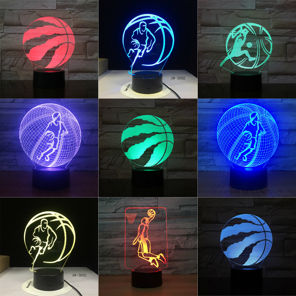 Basketball Raptors 3D LED Night Light For Club Home Office Room Decor Light Gift For Kid Child Colorful Desk Lamp Dropshipping