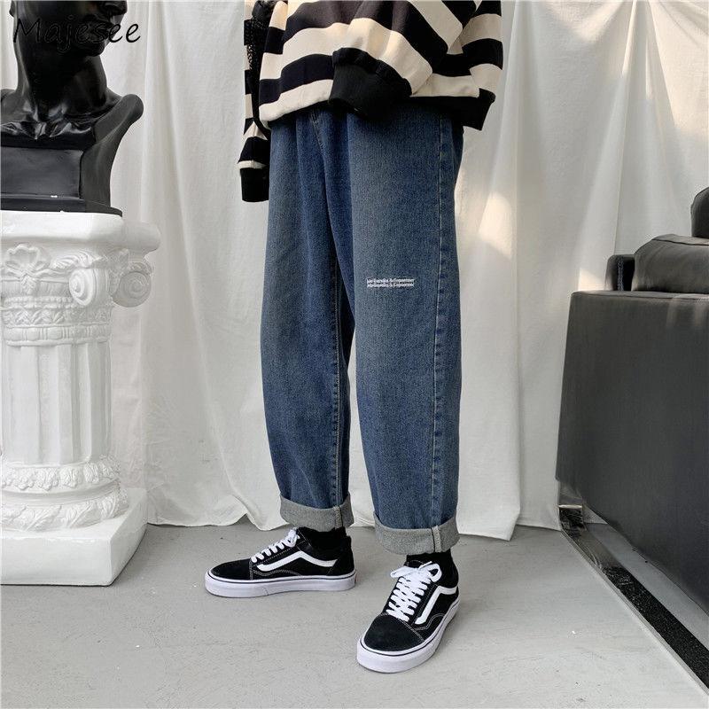 Cargo Jeans Men Solid Ankle-length Straight Pants Streeetwear Daily Clothea Mens Harajuku Harem Jean Basic Fashion Loose Trouser