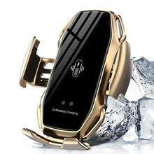 10W Caricatore Senza Fili Sensore A Infrarossi Automatico di Bloccaggio Veloce di Ricarica Supporto Del Supporto Del Telefono Caricabatteria Da Auto Per IPhone Huawei Samsung