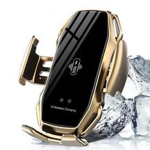 10W Drahtlose Ladegerät Infrarot Sensor Automatische Spann Schnelle Lade Telefon Halter Halterung Auto Ladegerät Für IPhone Huawei Samsung