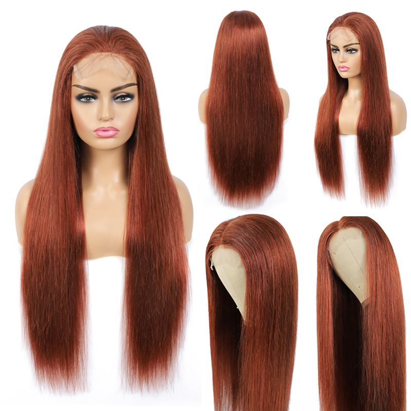 Brown Auburn Lace Front Human Hair Wigs Brazilian Straight Pre Plucked Lace Wig For Black Women SOKU 4x4/13x4 Remy Hair Lace Wig