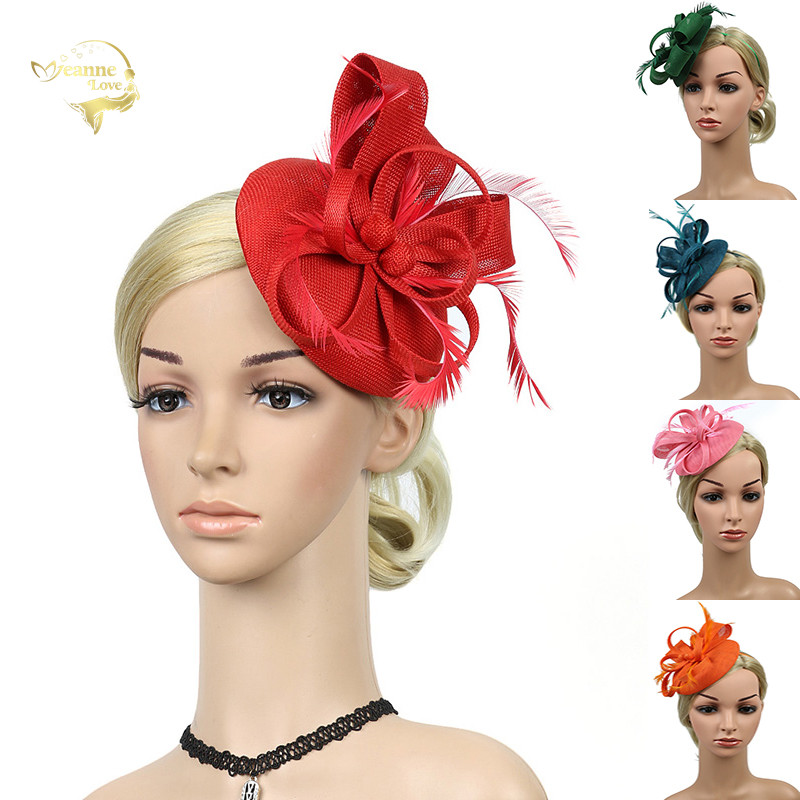 Red Wedding Party Hats Woman Headwear Decorate Bridal Hats Fascinators Feather Flower with Hairpin Black Navy Bride Headdress