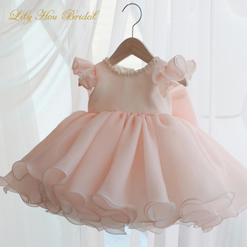 Cute Flower Girl Dresses Pink Short Formal Birthday Party Gowns with Lovely Bow