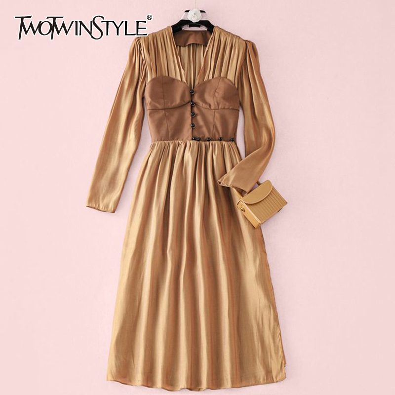 TWOTWINSTYLE Patchwork Hit Color Women Dress V Neck Puff Long Sleeve High Waist Tunic Ruched Elegant Dresses For Female Fasion
