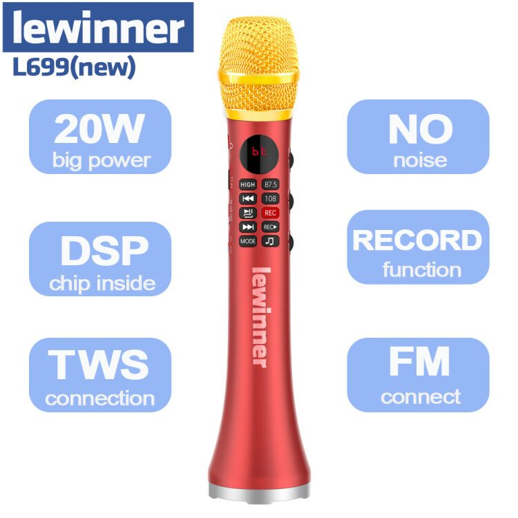 Профессиональный Портативный беспроводной Bluetooth-микрофон Lewinner L699, динамик для караоке, KTV, студия, 20 Вт