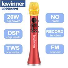 Lewinner l699 profissional 20w mic portátil sem fio bluetooth karaoke microfone alto-falante casa ktv dinâmico microfone estúdio