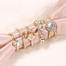 Women Fashion Stars Moon Full Diamond Ring Five-piece Suit Jewelry Geometry Crystal Ring Set Woman Charm Jewelry Accessories fx(China)