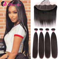 ZHUO JIA Straight Hair Bundles With Frontal 13x4 Remy Hair Brazilian Human Hair 30 inch 4 Bundles With Frontal Hair Extension