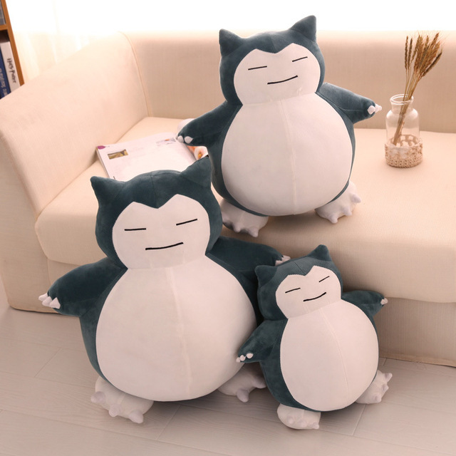 Lindos juguetes de peluche Snorlax de dibujos animados, encantador Anime, súper suave, gran muñeco de peluche, gran regalo de Navidad Kawaii para niños, almohada esponjosa