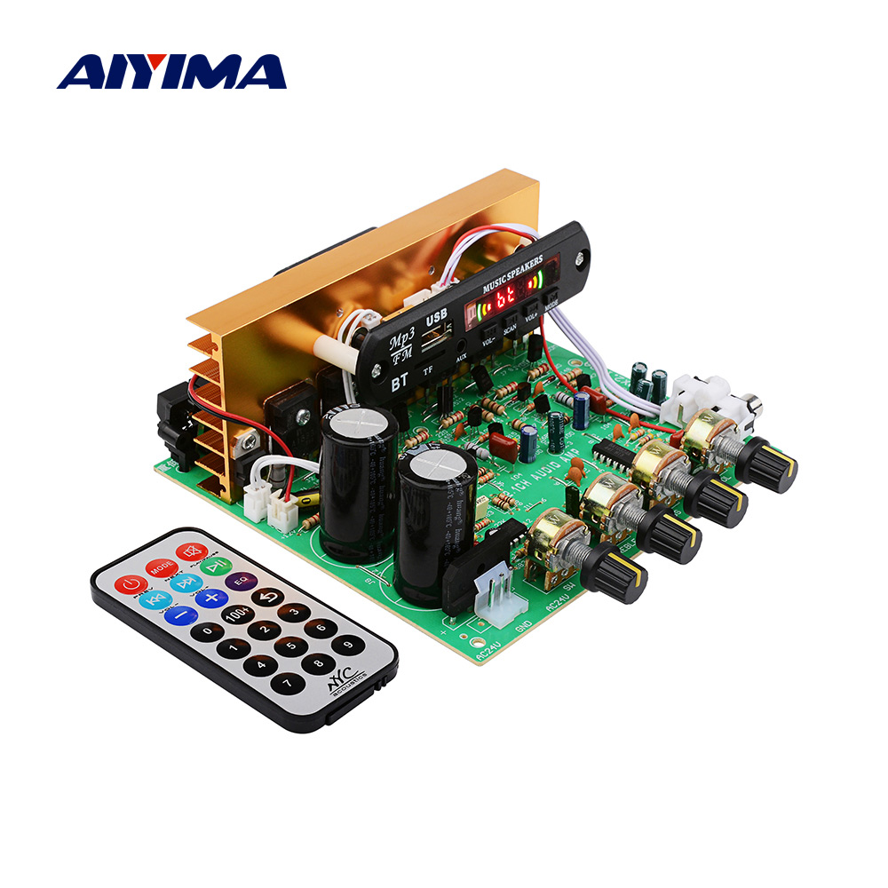 AIYIMA Bluetooth Amplifier Board 80W 2.1 Channel Subwoofer Amplificador Audio Board With AUX FM TF U Disk Home Theater Diy
