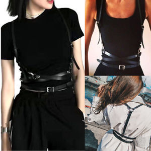 Womens Fashion Sexy Body Harness Bondage Body Harness PU Waist Belts Black Faux Leather Ladies Suspenders Belt New