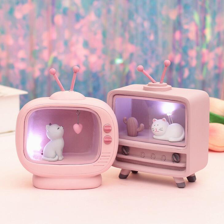 Ins Girls'Heart Room With Starlight, Nightlight And TV Lamp Molding Resin
