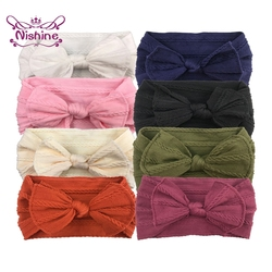 Nishine Fashion Newborn Toddler Baby Girls Headwraps Bows Knot Nylon Turban Headband Kids Hair Accessories Birthday Gifts