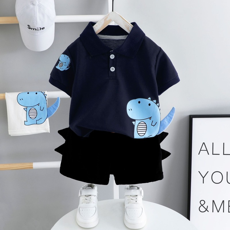 Baby Clothes Summer Suit Toddler Boys Short Sleeve Top + Black Shorts Children Outfits 2 Pieces 1-4 Year Old Baby Kids Clothes 3