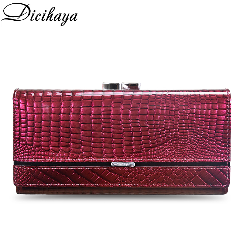 DICIHAYA Women Clutch Genuine Leather Wallet Female Long Wallets Women Zipper Purse Crocodile Money Bag Purse Phone Bags