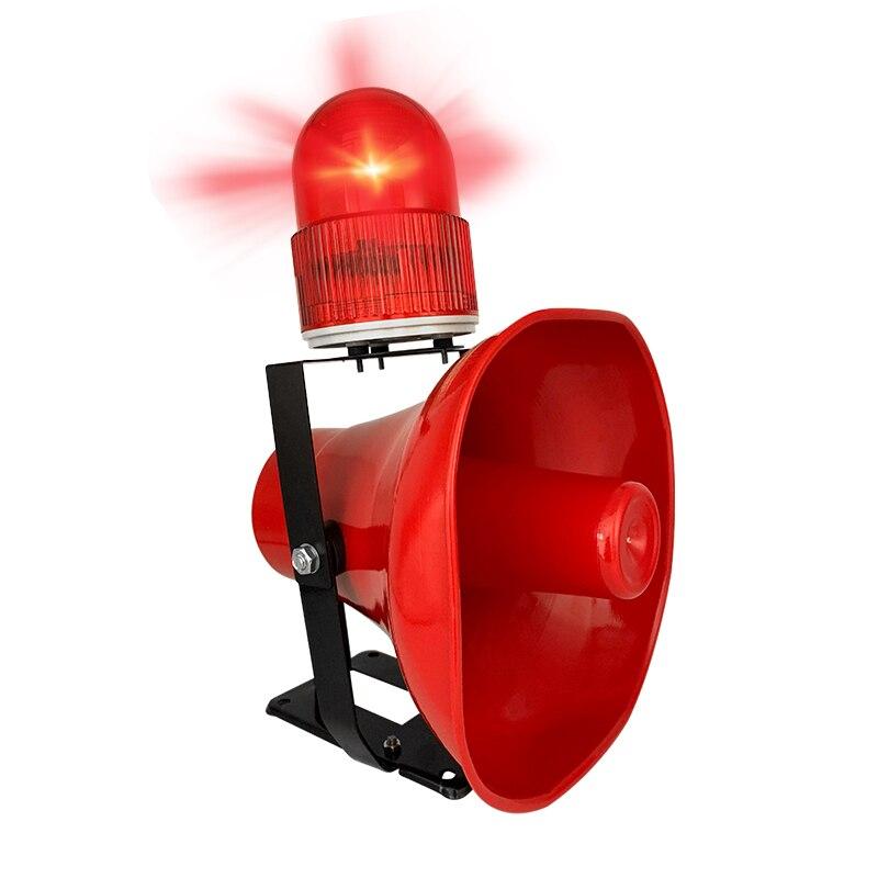 220V acousto optik Alarm ses ve ışık alarmı için Strobe ile sürüş vinç okulu yangın endüstriyel boynuz Siren ses boynuz (kırmızı) title=