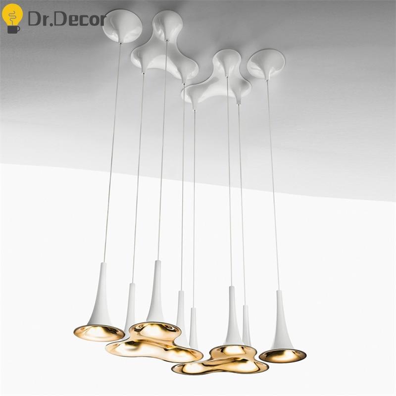 Post-modern PP Zinc Alloy White LED Pendant Lights Nordic Art Kitchen Hanging Lamps Bar Office Home Decor Pendant Lamp Luminaria
