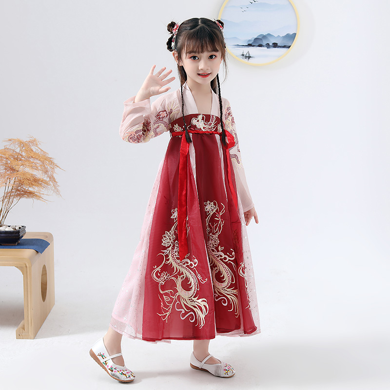 Children Ancient Hanfu Dress Han/Tang Dynasty Fairy Red Embroidery Princess Costume Chinese Traditional Hanfu For Girls DQL2260