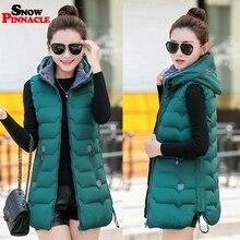 겨울 긴 조끼 여성 캐주얼 슬림 두꺼운 따뜻한 가을 후드 민소매 조끼 긴 지퍼 여성 면화 패딩 자켓